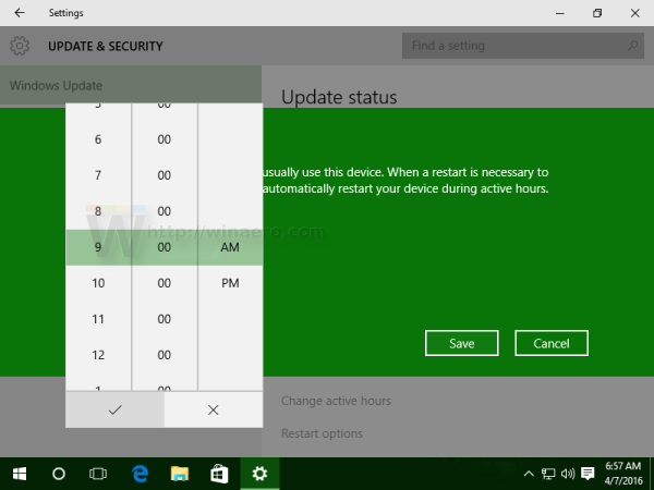 Windows 10 active hours set new value
