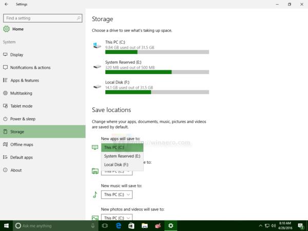 Windows 10 apps storage device