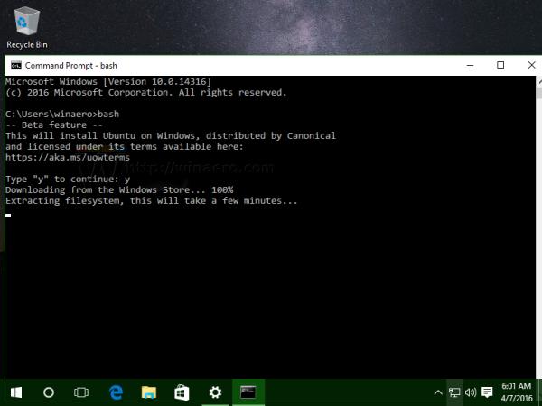 Windows 10 bash first run 2