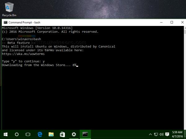 Windows 10 bash first run
