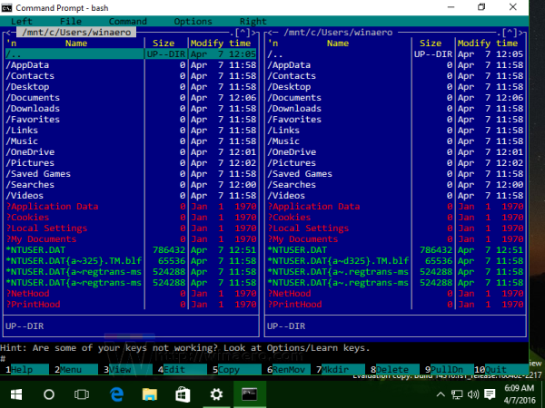 Windows 10 bash running mc