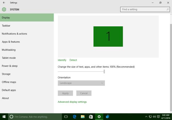 Windows 10 build 14316 display settings