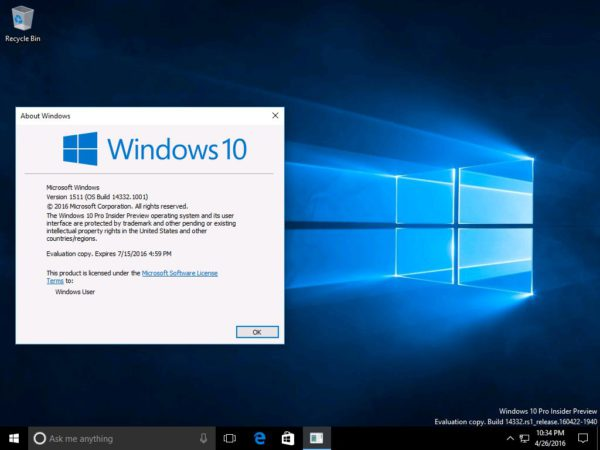 Windows 10 build 14332 winver