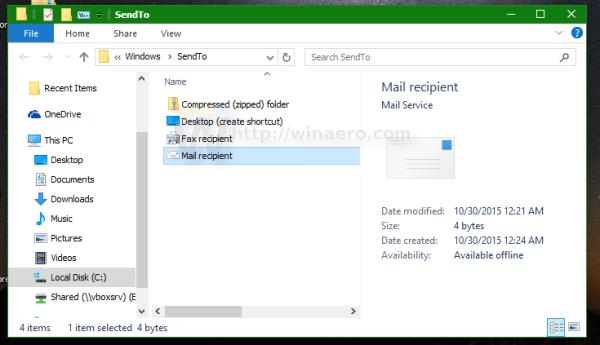 Windows 10 default user send to
