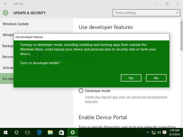 Windows 10 developer mode confirmation