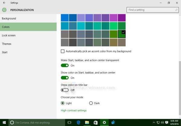 Windows 10 enable color on taskbar taskbar