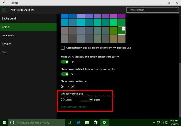 Windows 10 enable dark theme