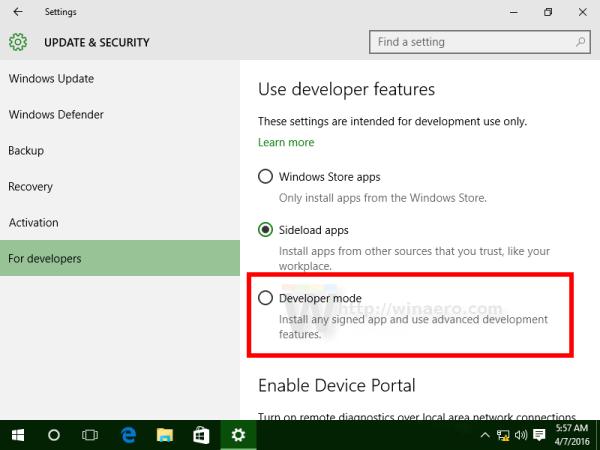 Windows 10 enable developer mode