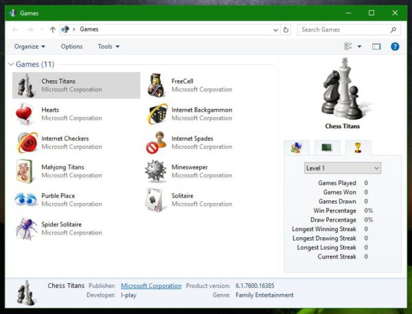 Windows 10 game explorer with games from 7