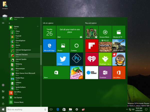 Windows 10 games from Windows 7 in Start menu