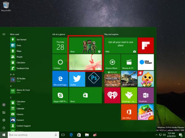 Windows 10 live tiles