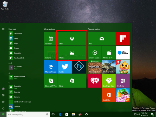 Windows 10 live tiles cleared