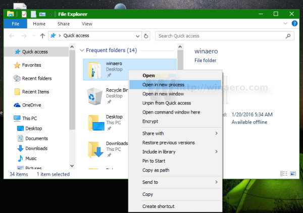 Windows 10 open folder in new process
