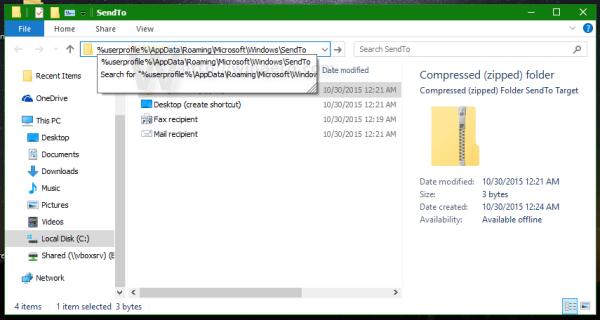 Windows 10 per user send to
