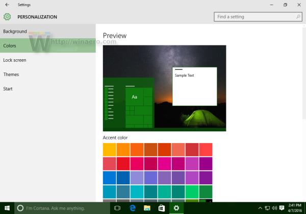 Windows 10 personalization colors