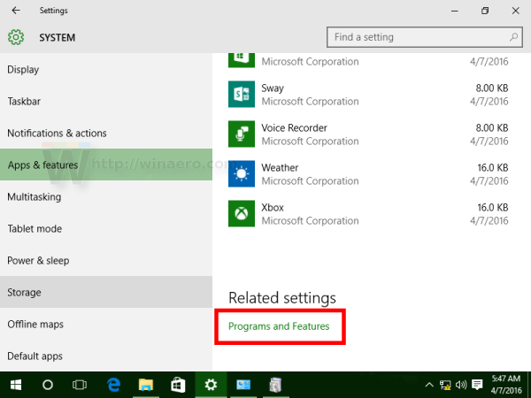 Windows 10 programs and features link