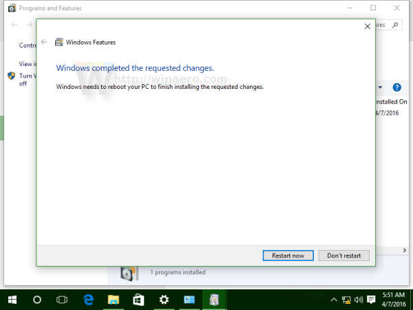 Windows 10 reboot prompt