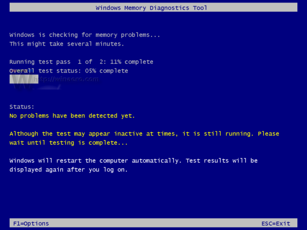 Windows 10 run memory diagnostic