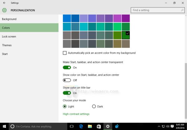 Windows 10 show color on title bar