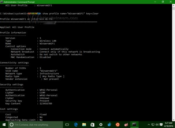 Windows 10 show wifi password