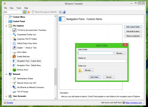 navigation pane - add custom folders