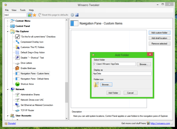 navigation pane - custom folder dialog