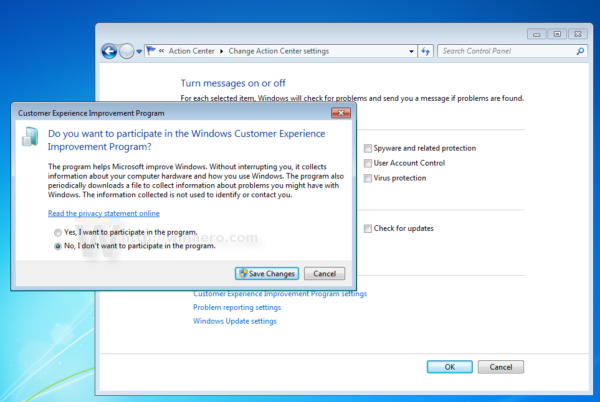 Customer Experience Improvement Program settings dialog