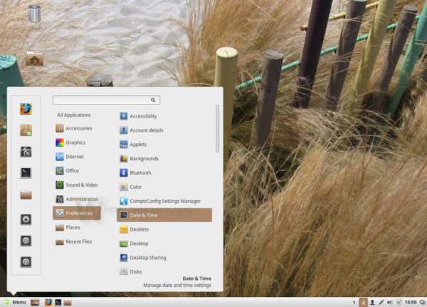 Linux Mint cinnamon date and time