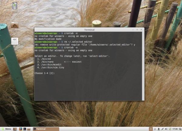 Linux Mint re-select editor for crontab