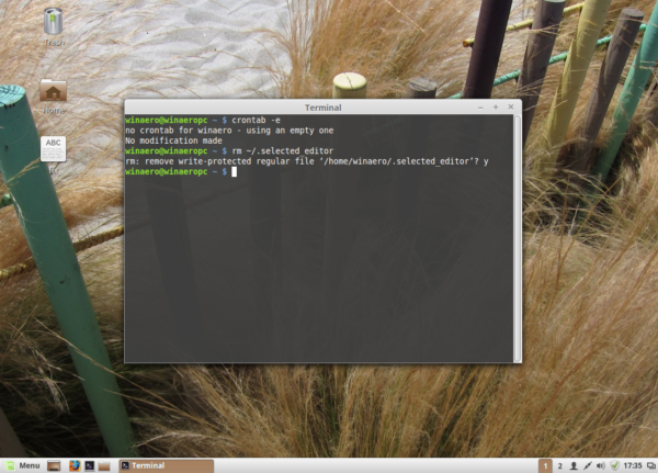 Linux Mint reset editor for crontab