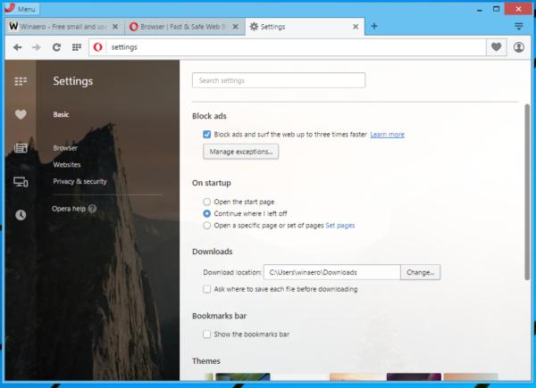 Opera 37 enable ad blocker