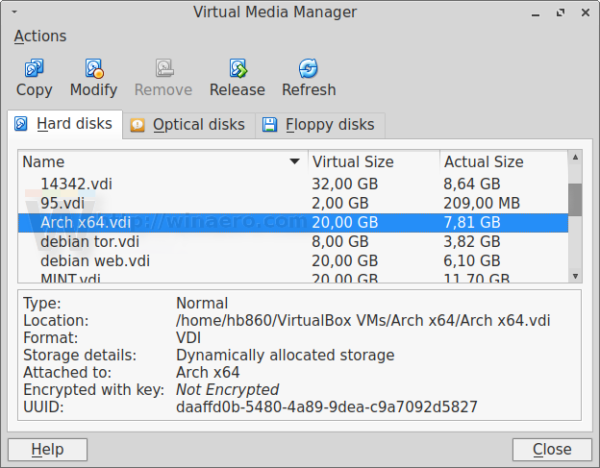 Virtualbox current disk size
