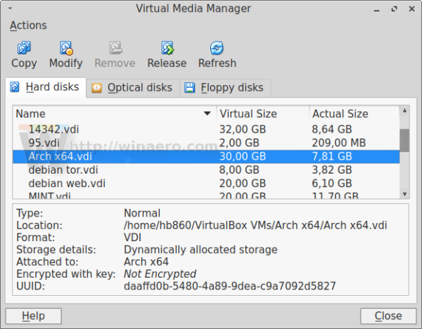 Virtualbox new disk size