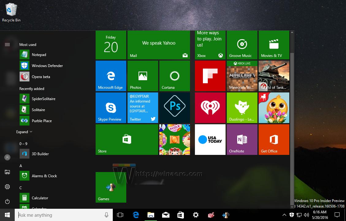 Pin Games folder to taskbar or Start menu in Windows 10