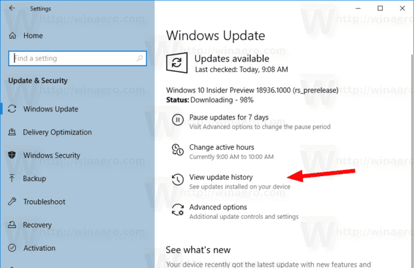 Windows 10 Update History Button