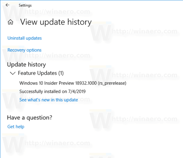 Windows 10 Update History Page