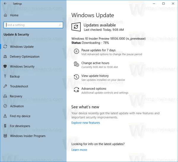 Windows 10 Update Page