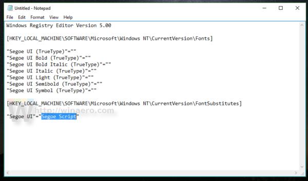 Windows 10 change system font