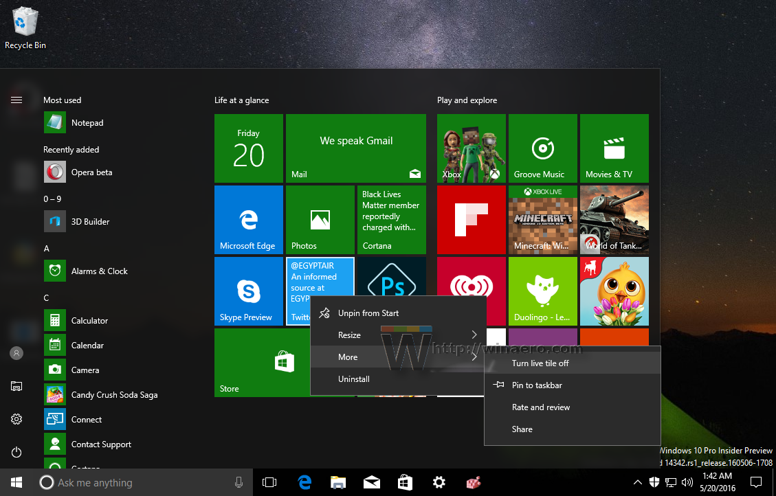 Disable Live Tiles all at once in Windows 10 Start menu
