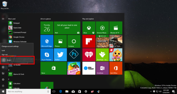 Windows 10 guest account Start menu