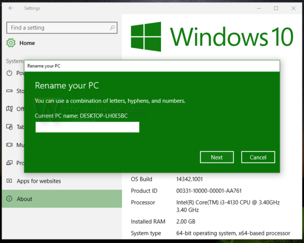 Windows 10 rename PC or tablet