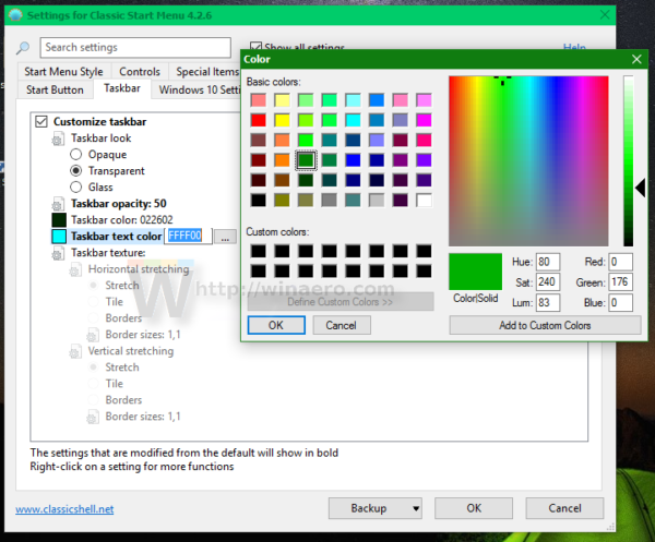 Windows 10 set taskbar text color
