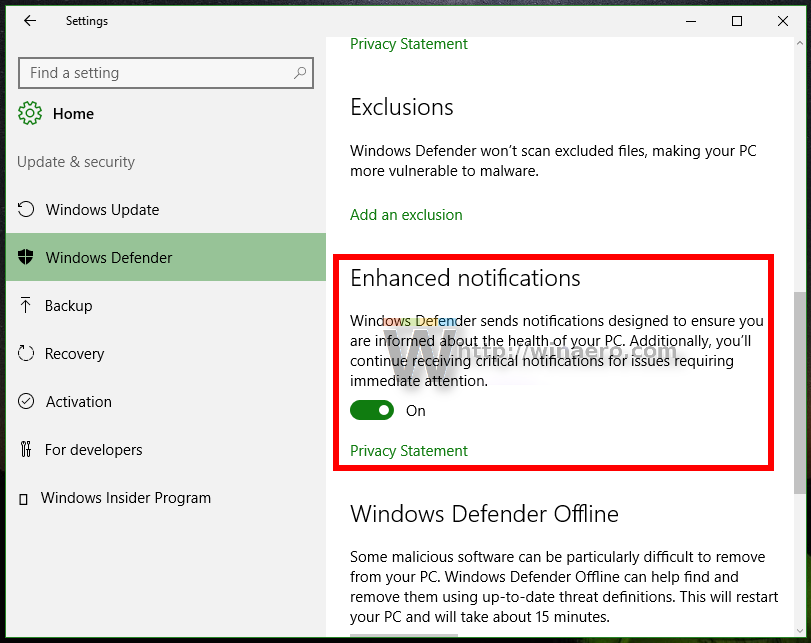 windows 10 disable updates notification