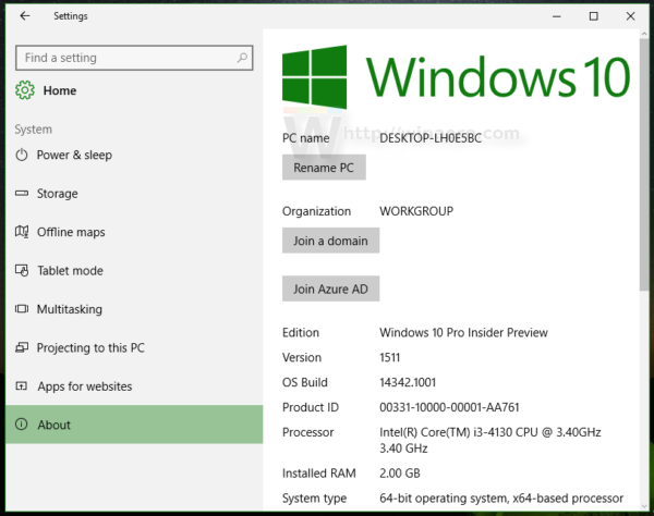 Windows 10 settings system about