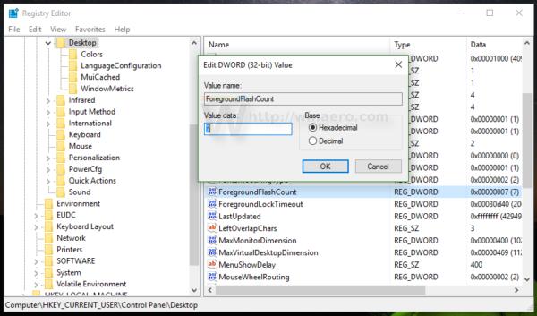 Windows 10 taskbar flash count