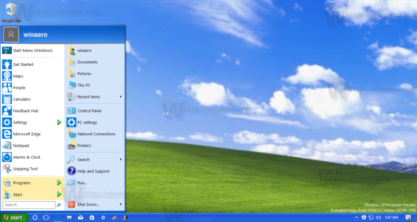 Windows 10 with XP taskbar and start menu