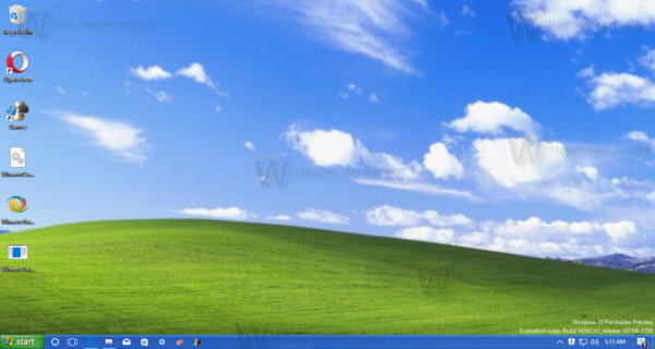 Windows 10 with XP taskbar and wallpaper