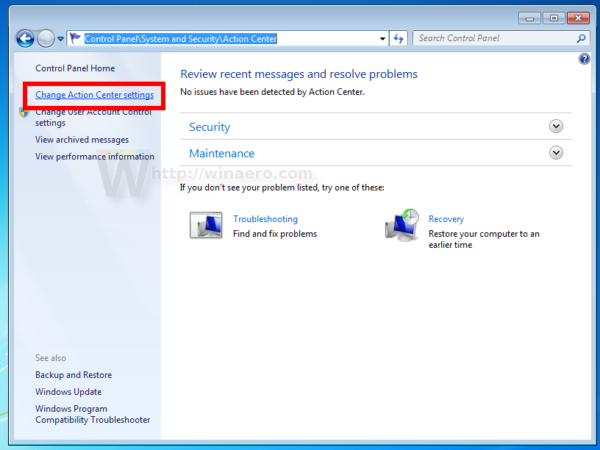 Windows 7 action center settings link