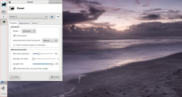 XFCE 4 vertical bar deskbar mode