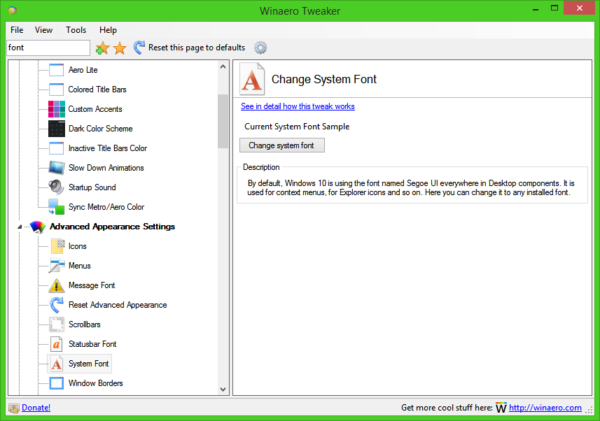change system font